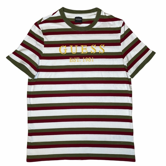 Guess Spellout Embroidered Striped Shirt Medium